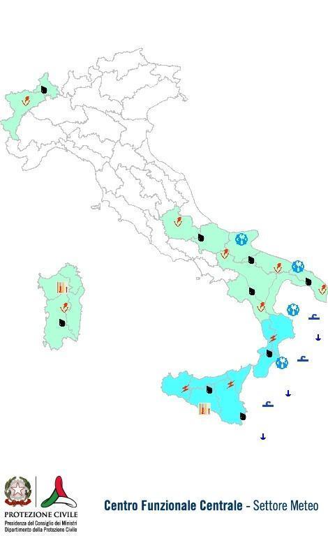 Previsioni meteo 22 Agosto 2013 Italia: Bollettino della Protezione Civile. Fonte: www.protezionecivile.gov.it