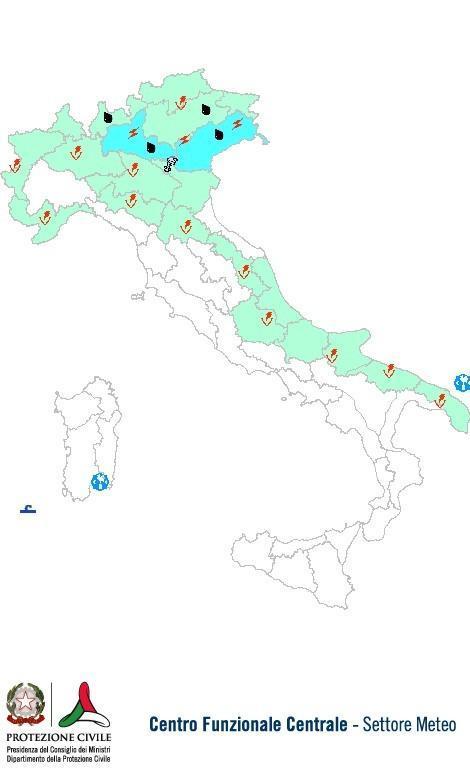 Previsioni meteo 29 Agosto 2013 Italia: Bollettino della Protezione Civile. Fonte: www.protezionecivile.gov.it
