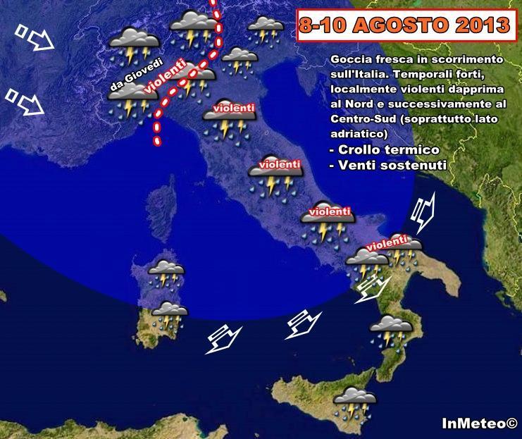 Allerta meteo dall'8 Agosto: forti temporali ad iniziare dal Nord