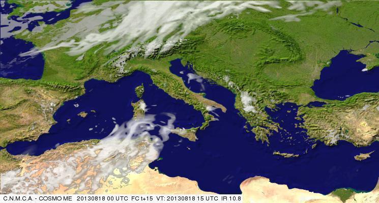 Previsioni Meteo Aeronautica Militare Domenica 18 Agosto 2013. Fonte: meteoam.itder