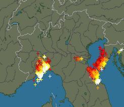Numerosissime Fulminazioni rilevati dai radar sulla Liguria