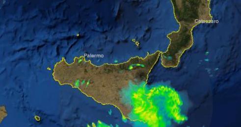 Il temporale in atto sulla Sicilia sud-orientale visto dal Radar della Protezione Civile. Aggiornamento ore 10.50.