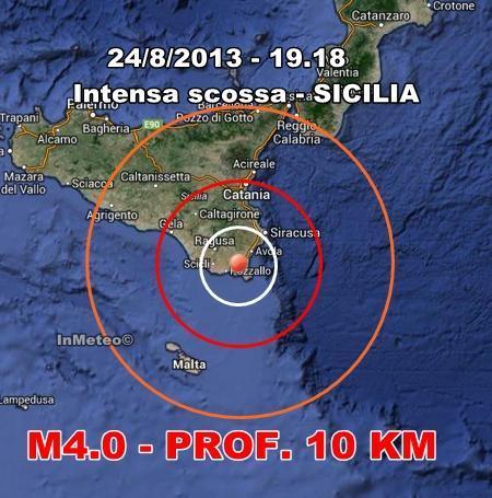 INGV Terremoto Oggi : Intensa scossa sulla Sicilia