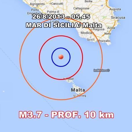 Terremoto Sicilia-Malta oggi - Scossa avvertita in nottata