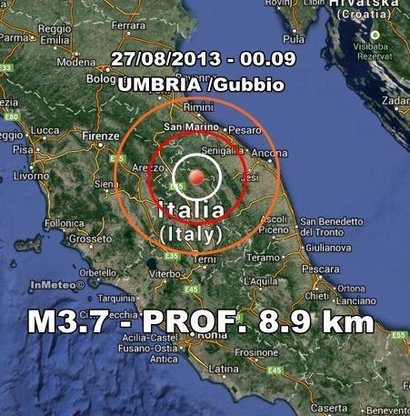 Terremoto Gubbio-Umbria Oggi : Scossa nettamente avvertita