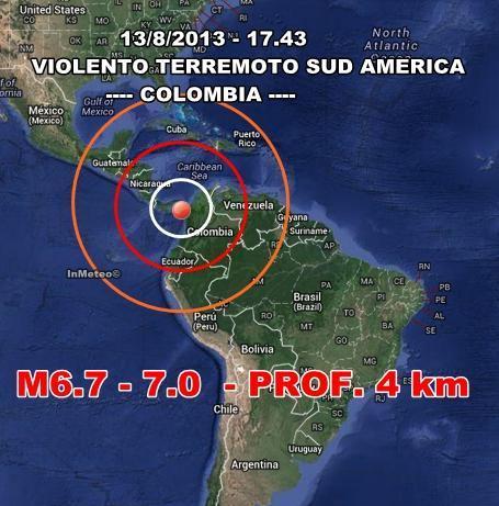 Terremoto Colombia : Violenta scossa di terremoto oggi 13 Agosto