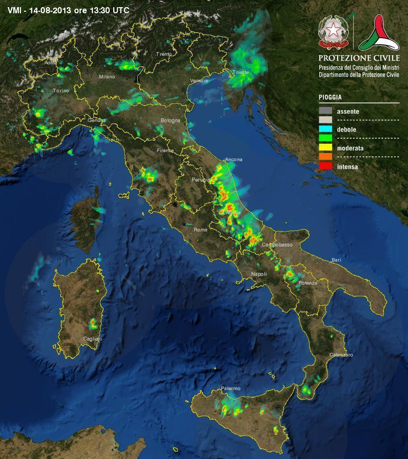 Protezione Civile : Ecco i temporali in atto , localmente forti