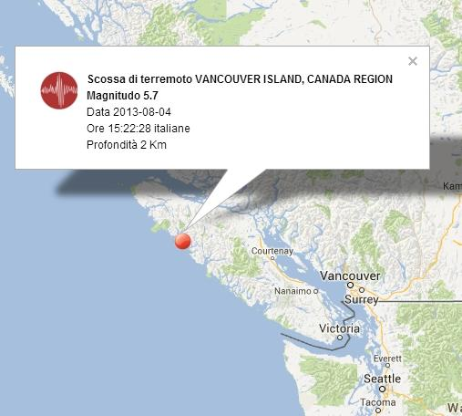 Terremoto Canada-Vancouver oggi 4 Agosto 2013: forte scossa sull'Isola