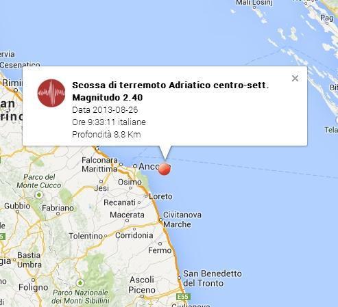 Terremoto Ancona oggi 26 Agosto 2013