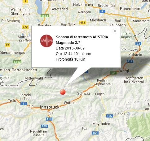 Terremoto Austria oggi 9 Agosto 2013