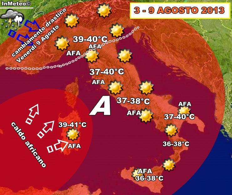 Previsioni Meteo : Gran caldo in arrivo sull'Italia