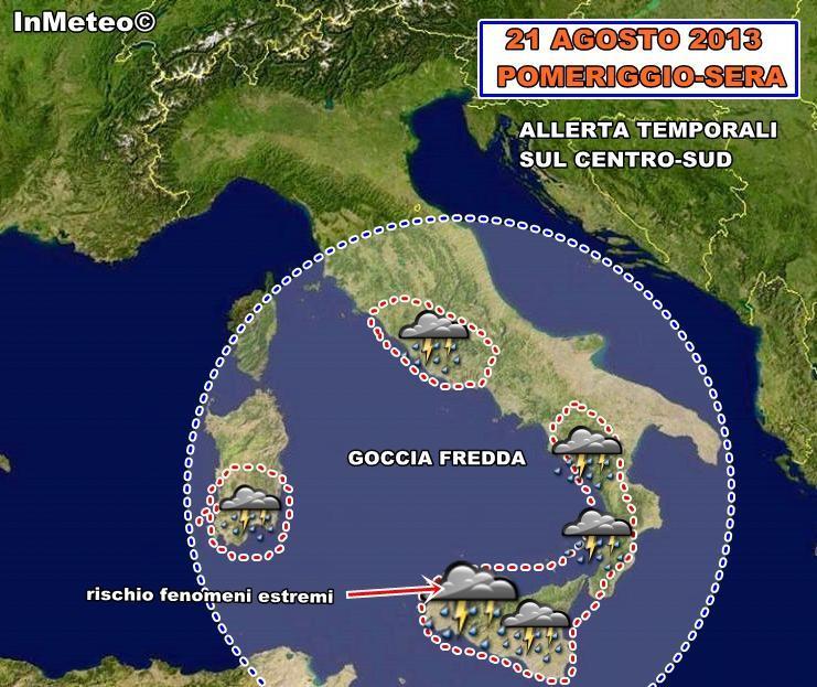 Allerta temporali al Sud - Rischio fenomeni estremi sulla Sicilia