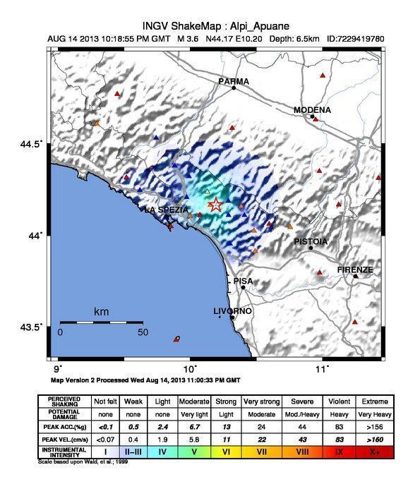 Terremoto Toscana : Trema nettamente la Lunigiana - SHAKEMAP INGV