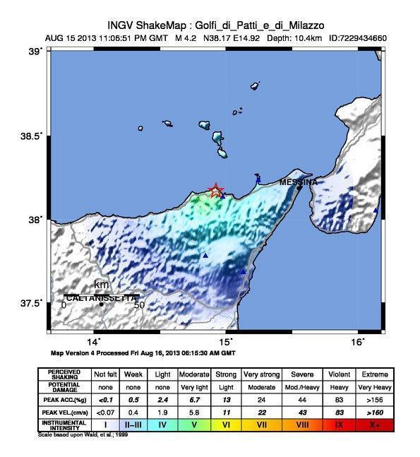 Terremoto Sicilia : Mappa dello scuotimento sismico - INGV