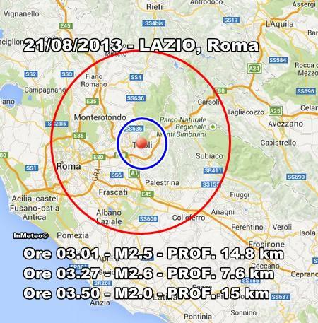 Terremoto Roma oggi 21 Agosto 2013