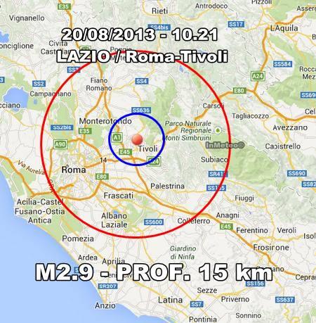 Terremoto Tivoli-Roma 20 Agosto 2013
