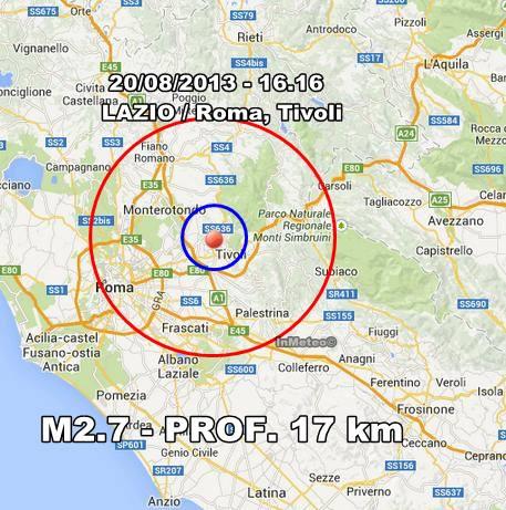 TERREMOTO ROMA Tivoli: trema il Lazio oggi 20 Agosto 2013
