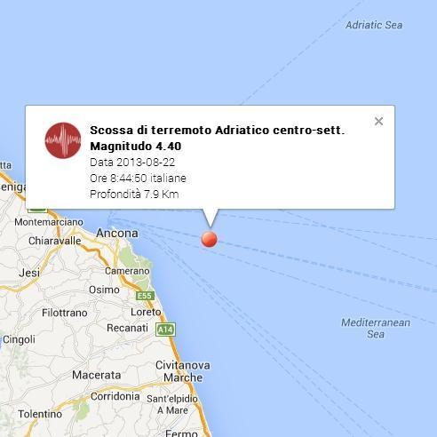 Terremoto Marche oggi: intenso sisma nei pressi di Ancona - 22 Agosto 2013
