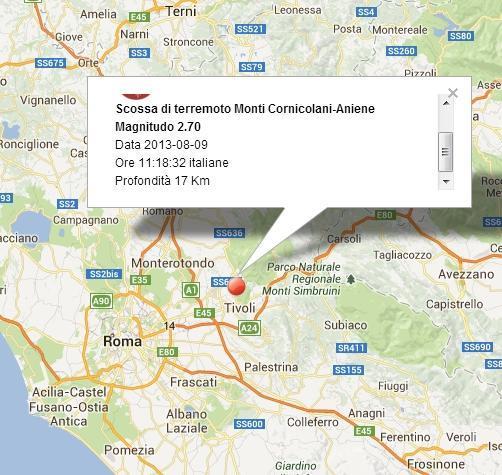 Terremoto oggi Tivoli-Lazio 9 Agosto 2013
