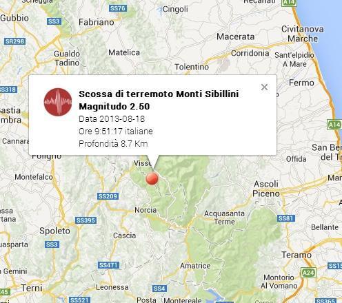 Terremoto Marche-Visso oggi 18 Agosto 2013