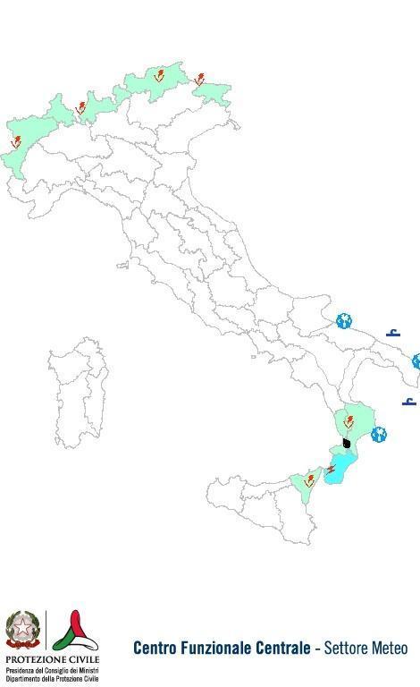 Previsioni meteo 2 Ottobre 2013 Italia: Bollettino della Protezione Civile. Fonte: www.protezionecivile.gov.it