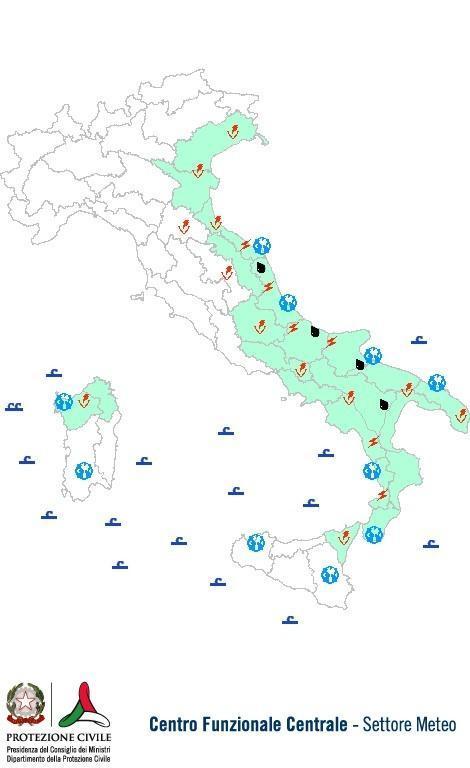 Previsioni meteo 13 Settembre 2013 Italia: Bollettino della Protezione Civile. Fonte: www.protezionecivile.gov.it