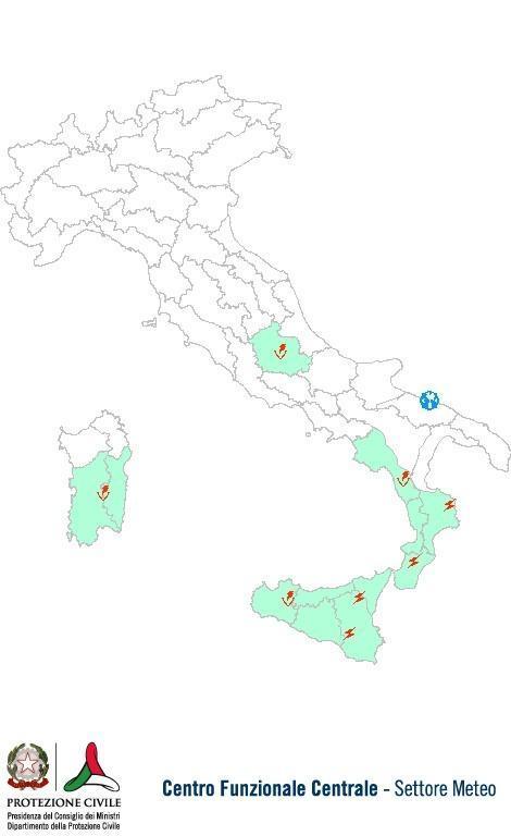 Previsioni meteo 21 Settembre 2013 Italia: Bollettino della Protezione Civile. Fonte: www.protezionecivile.gov.it