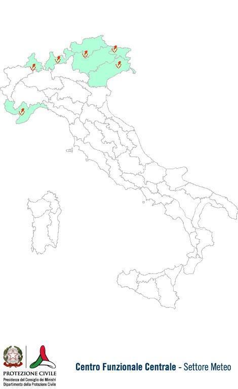Previsioni meteo 25 Settembre 2013 Italia: Bollettino della Protezione Civile. Fonte: www.protezionecivile.gov.it