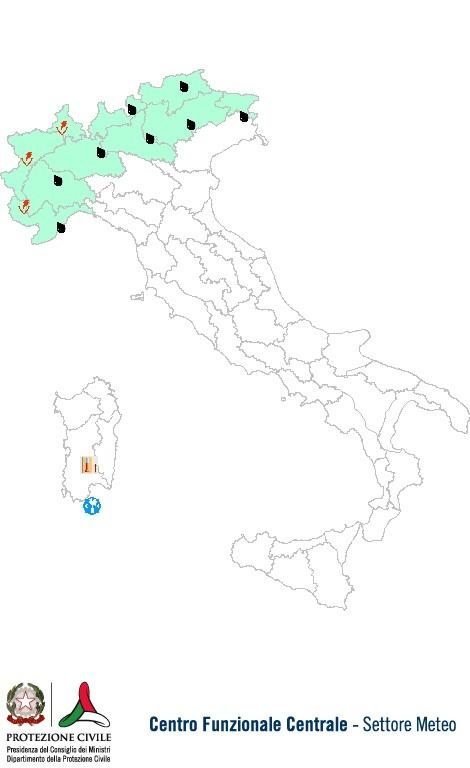 Previsioni meteo 28 Settembre 2013 Italia: Bollettino della Protezione Civile. Fonte: www.protezionecivile.gov.it