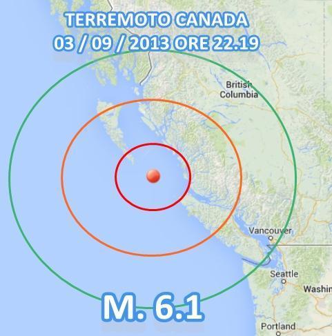 Terremoto Canada-Vancouver oggi 3 Settembre 2013