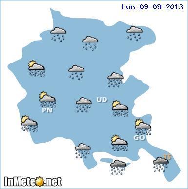 Friuli Venezia Giulia: maltempo nella giornata di Lunedì 9 Settembre