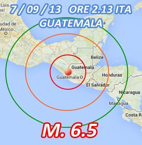 Terremoto Guatemala oggi 7 Settembre 2013