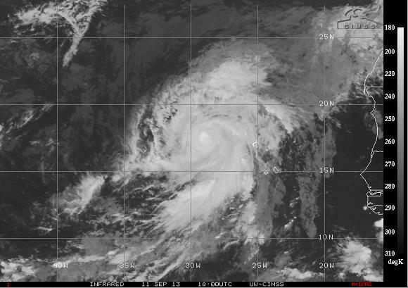 Immagine infrarossa dell' uragano Humberto