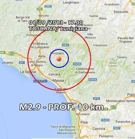 Terremoto Toscana-Umbria Oggi : Scossa ben avvertita in Lunigiana