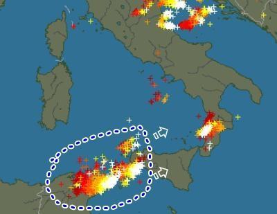 Maltempo : MCS in arrivo sulla Sicilia - Ecco le fulminazioni rilevate dai radar