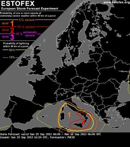 Estofex : allerta meteo di livello 2 lanciata per il Sud