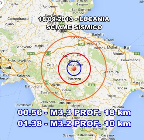 INGV Terremoto oggi : sciame sismico in atto in Basilicata