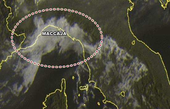 Maccaja vista dal Satellite sulla Liguria