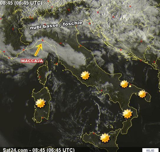Meteo : maccaja sulla Liguria. Stabile al Sud
