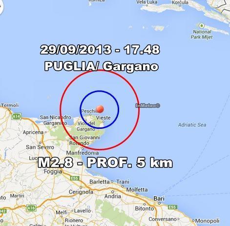 Terremoto Puglia Oggi : lieve scossa avvertita sul Gargano