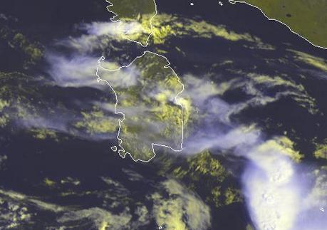 Meteo Sardegna : Giornata instabile. Temporali in formazione - Scatto satellitare , fonte http://www.eurometeo.com