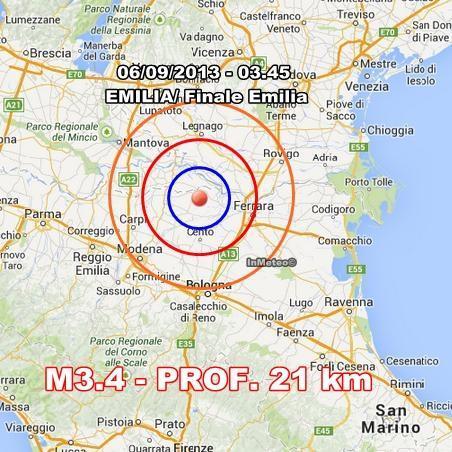 Terremoto Emilia Romagna Oggi : nuova scossa avvertita in nottata