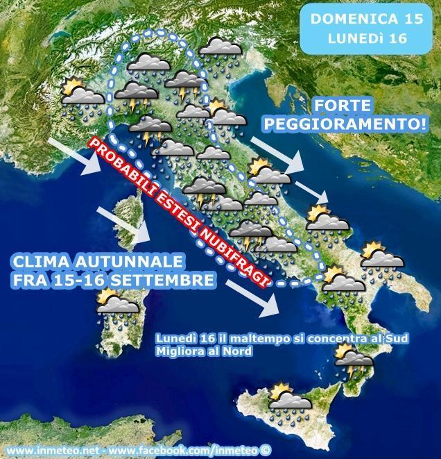 Ultimi aggiornamenti: intensa perturbazione e clima autunnale in arrivo sull'Italia
