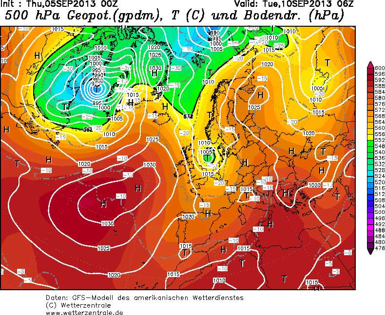 Previsione del modello GFS per il 10 Settembre