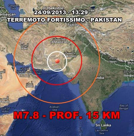 Terremoto Pakistan oggi 24 Settembre 2013: