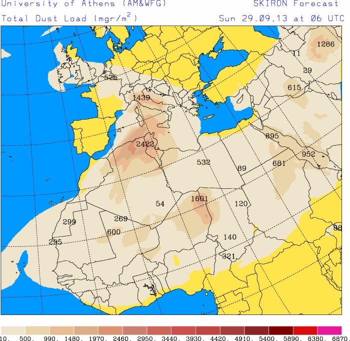 Sabbia e pulviscolo desertico in quota sull'Italia nel corso di Domenica. Cieli sporchi soprattutto al Centro-Sud.