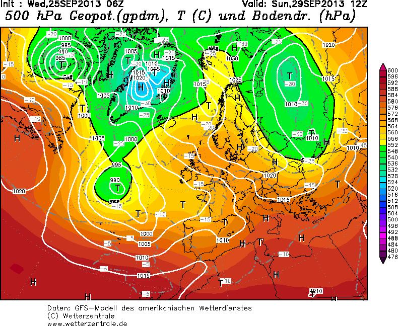 Situazione Domenica 29 Settembre: perturbazione atlantica che avanza sul Nord Italia con calo termico, caldo con punte di 30 gradi e oltre al Centro-Sud