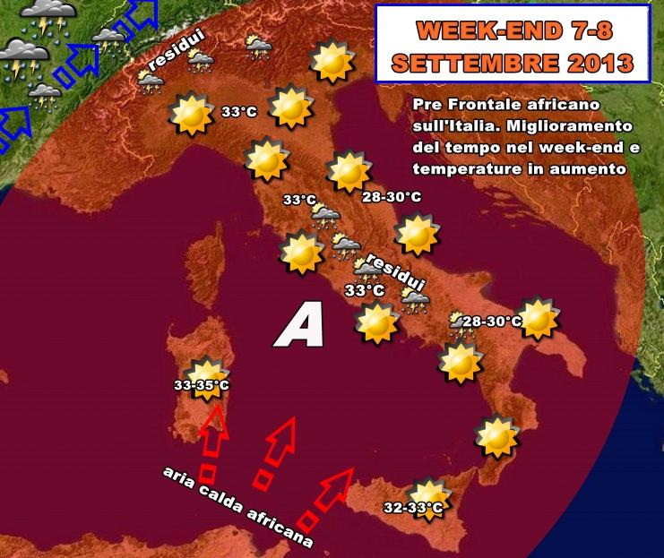Previsioni Meteo : Week-end torna il caldo africano?