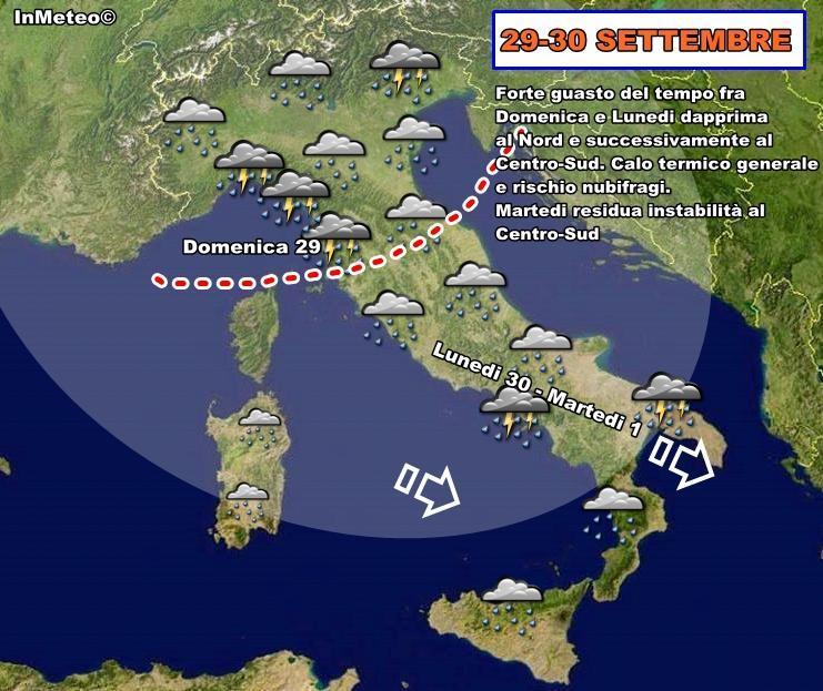 Previsioni Meteo : maltempo diffuso in arrivo da Domenica