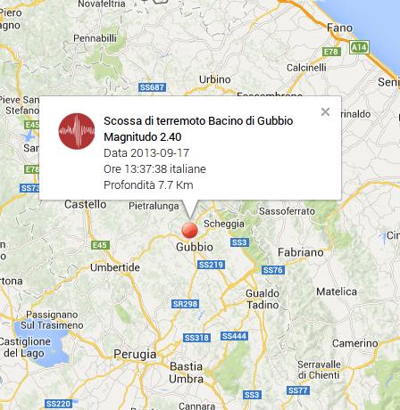 Terremoto oggi Gubbio (Umbria)